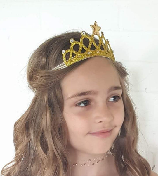 Gold Tiara, Princess Crown, Gold or Silver Tiara Headband - LoliBean