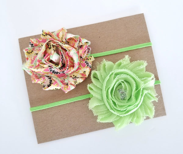 Peach and Green Spring Headband Set - LoliBean