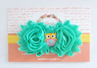 Owl Headband, Aqua and Yellow Headband - LoliBean