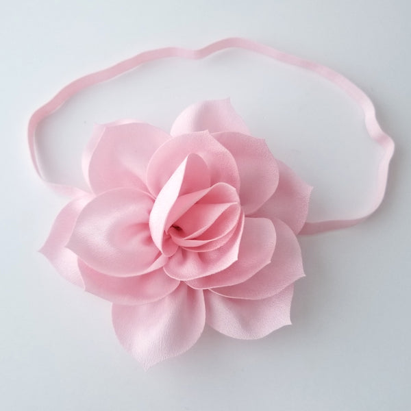 Pink Baby Headband, Pink Flower Girl Headband - LoliBean