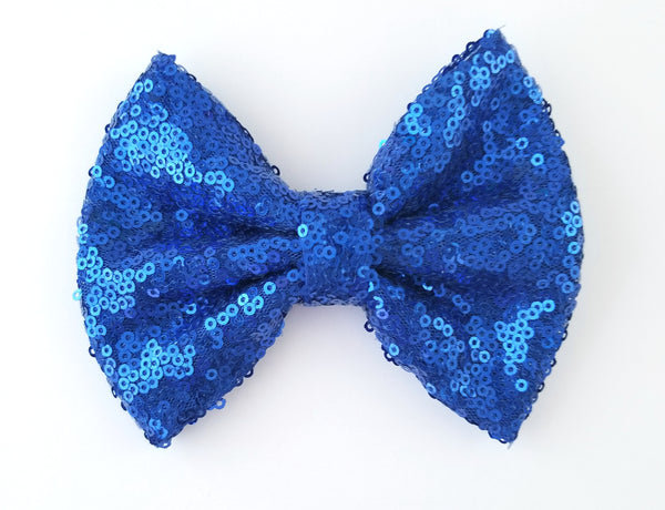 "5"" Royal Blue Sequin Bow - LoliBean"
