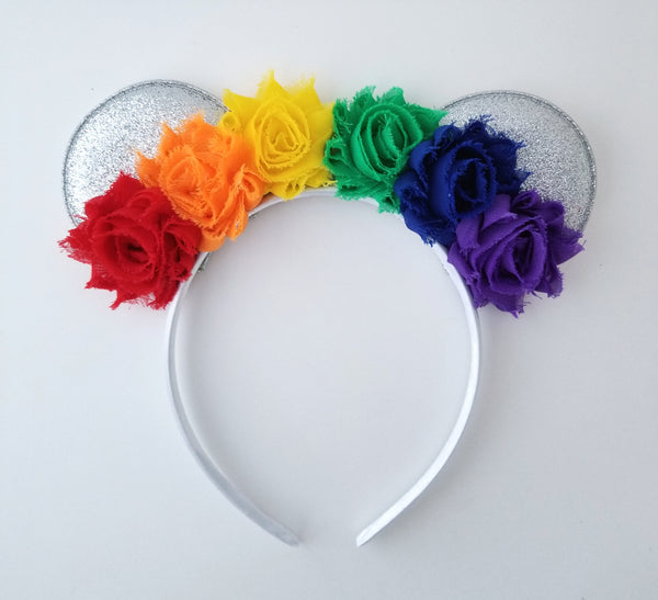 Rainbow Mouse Ear Headband, Rainbow Cake Smash Headband - LoliBean
