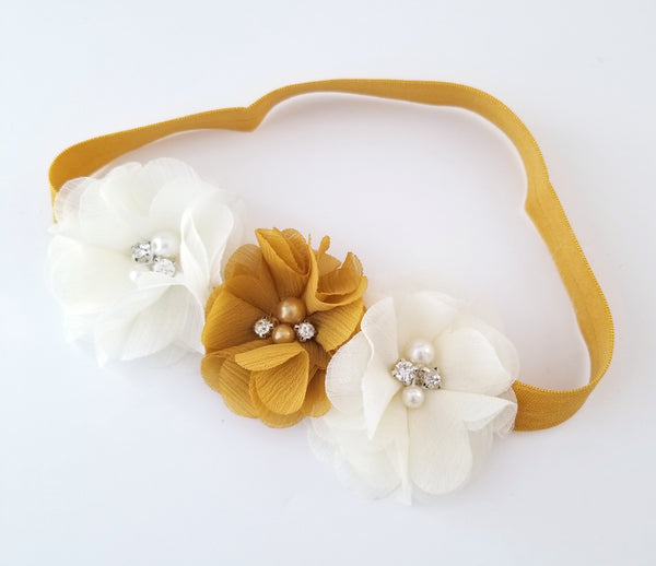 Mustard Gold and Ivory Flower Girl Headband - LoliBean