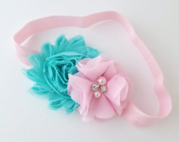 Pink and Aqua Headband - LoliBean