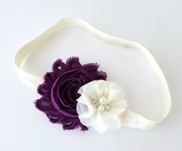 Plum and Ivory Headband, Flower Girl Headband - LoliBean