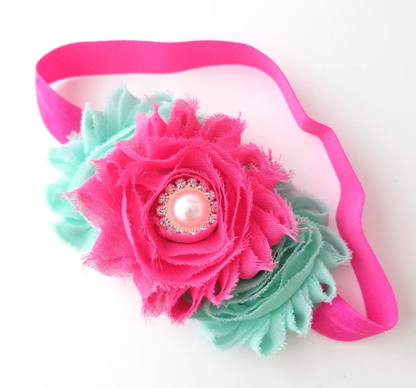 Pink and Aqua Headband, Hot Pink Headband - LoliBean