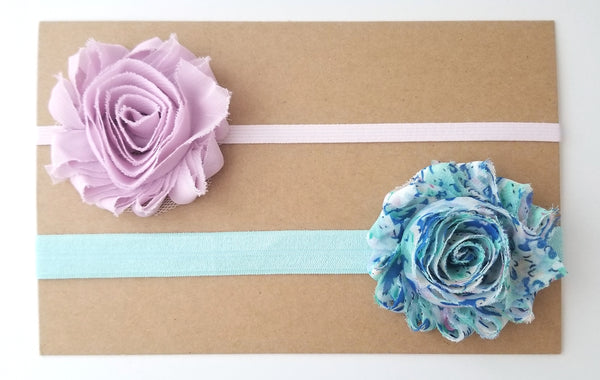 Baby Headband Set, Newborn Headbands, Aqua and Mauve Headbands - LoliBean