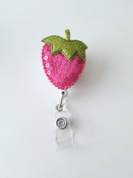 Retractable Badge Reel, Pink Strawberry Badge Reel - LoliBean