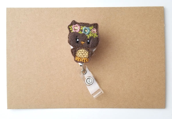 Rustic Woodland Owl Badge Reel