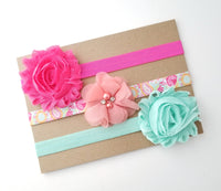 Pink and Aqua Headband Set, Peach Headband, Aqua Headband, Hot Pink Headband - LoliBean