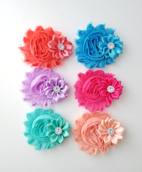 Chiffon Flower Hair Clips - LoliBean