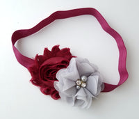 Wine and Gray Headband, Holiday Headband - LoliBean