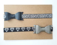 Black & Silver Faux Leather Bow Set
