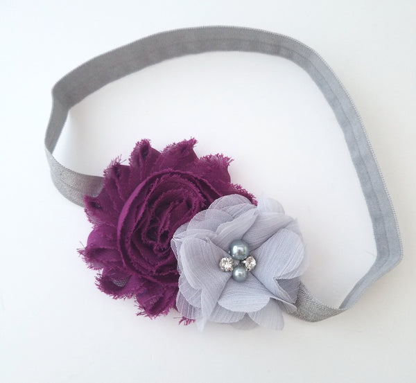 Plum and Gray Headband, Holiday Headband - LoliBean