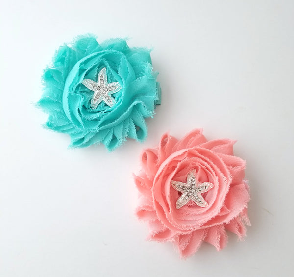 Aqua or Peach Starfish Hair Clips - LoliBean