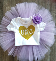 Lavender and Gold 1st Birthday Outfit - LoliBean