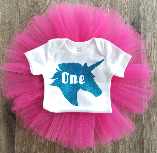 Hot Pink and Teal Unicorn 1st Birthday Outfit - LoliBean