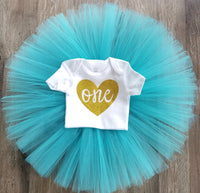 Gold and Teal 1st Birthday Outfit - LoliBean