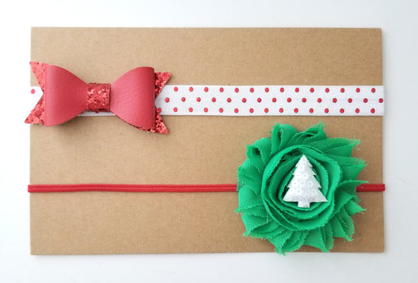 Holiday Headband Set, Set of 2 Christmas Headbands - LoliBean