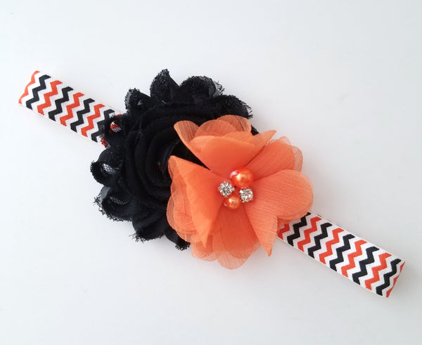 Halloween Headband / Black and Orange Halloween Headband - LoliBean