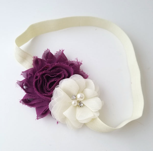 Burgundy and Ivory Headband, Shabby Chic Headband - LoliBean