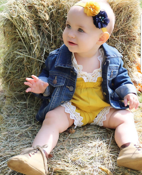 Navy Blue and Mustard Headband - LoliBean