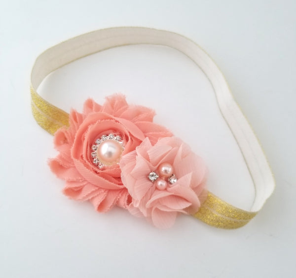 Peach & Gold Headband