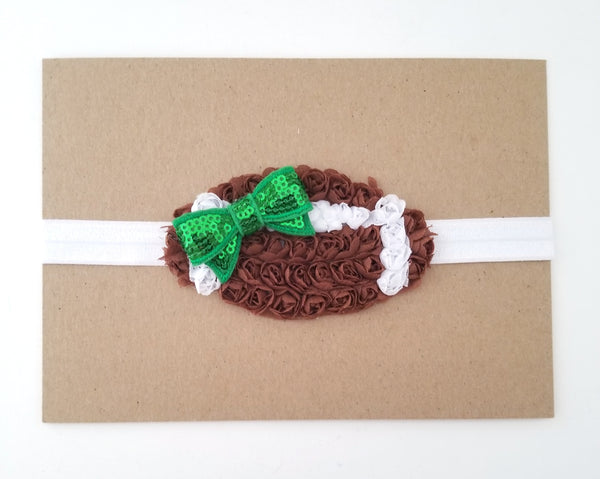 Brown Chiffon Football Headband
