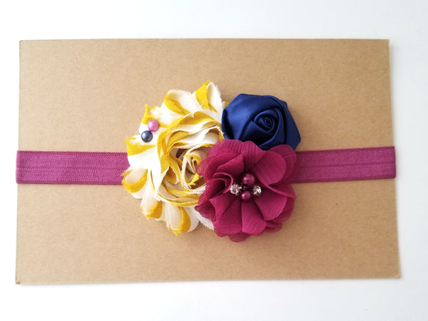 Mustard, Navy and Berry Headband