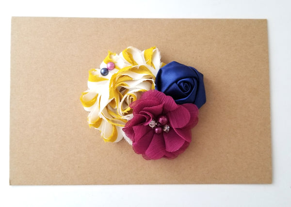 Mustard, Berry and Navy Blue Hair Clip