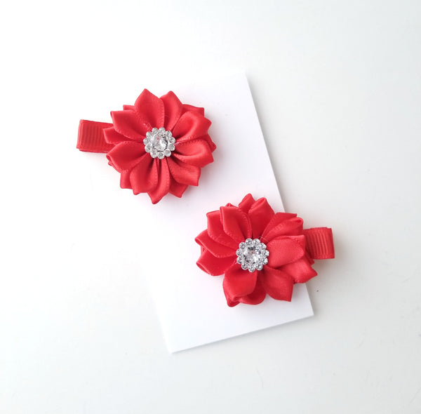 Red Holiday Hair Clips - Set of 2 Red Hair Clips