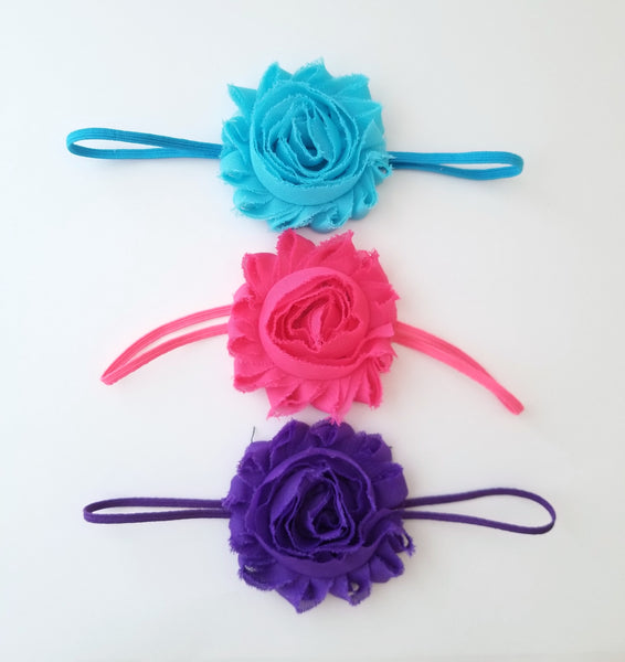 Set of 3 Shabby Flower Skinny Elastic Headbands