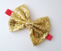 Red & Gold Sequin Bow Headband