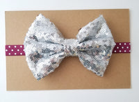 Burgundy & Silver Sequin Bow Headband