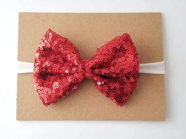 Red & Ivory Sequin Bow Headband