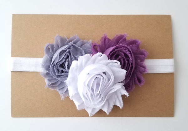 Plum Gray & White Shabby Chic Headband