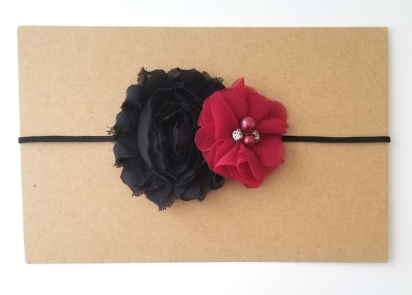 Black & Burgundy Headband