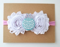 Pink & Aqua Christmas Ornament Headband