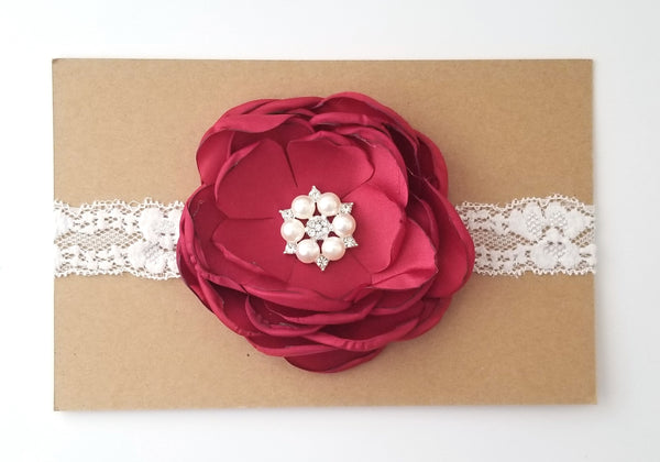 Red and Ivory Lace Headband