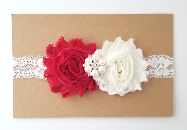 Red & Ivory Lace Headband