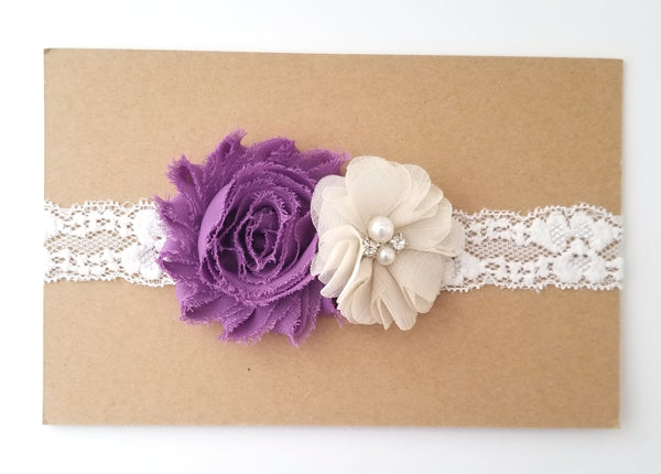 Plum & Ivory Lace Headband