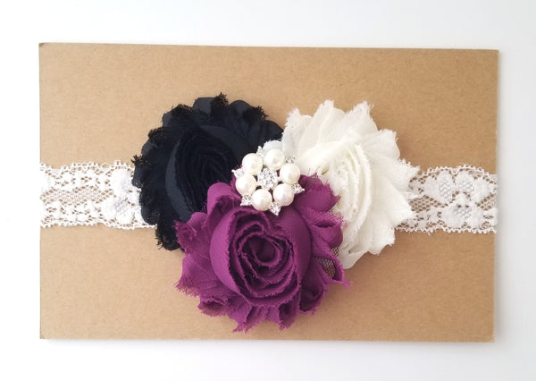 Black & Ivory Lace Headband