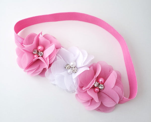 Pink & White Triple Flower Crown
