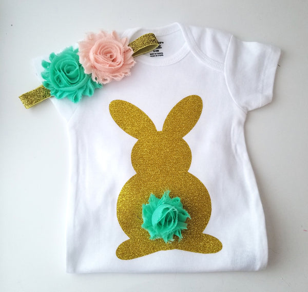 Easter Bunny Bodysuit with Matching Headband