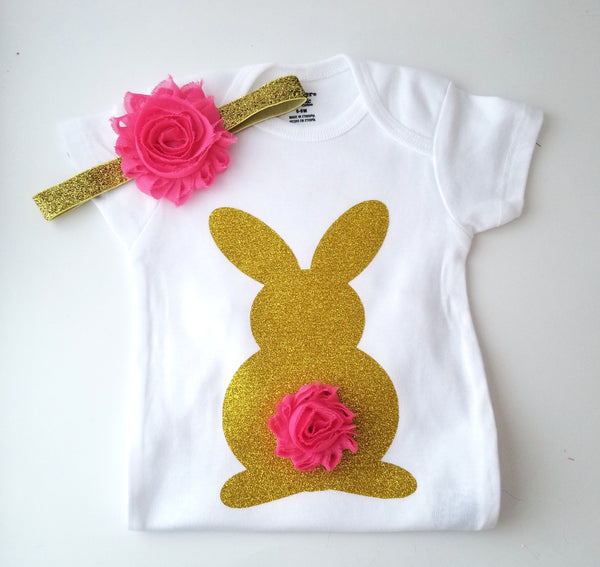 Easter Bunny Bodysuit and Matching Headband