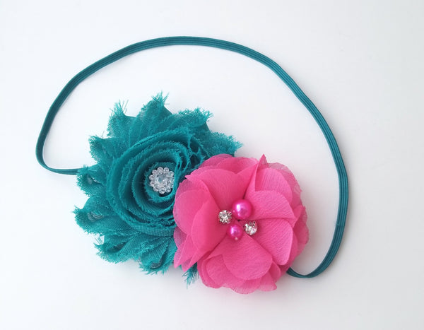 Teal and Hot Pink Headband