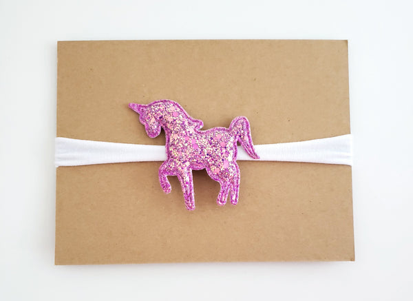 Pink and White Unicorn Headband