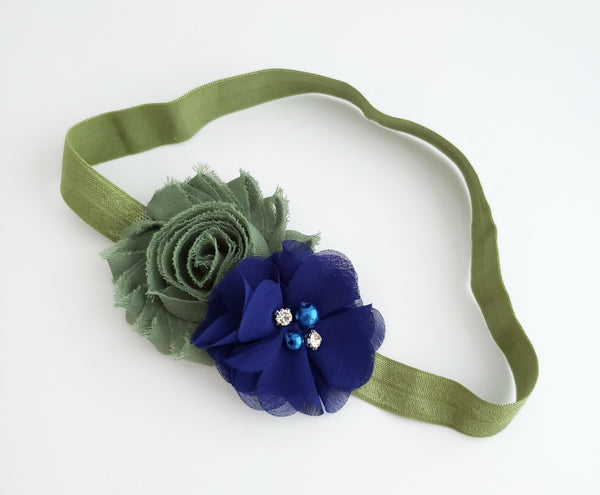 Olive Green and Royal Blue Headband