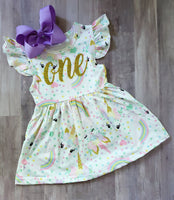 Unicorn 1st Birthday Dress with Matching Bow