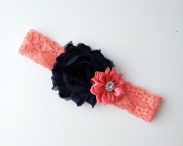 Navy Blue & Coral Lace Headband